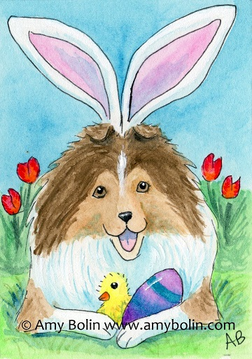 Sable Easter Sheltie Watercolor painting 2016 by Amy Bolin
